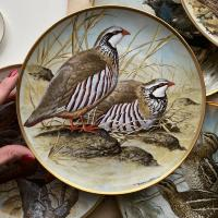 Тарелка Franklin Porcelain Gamebirds Limoges Red Legged Partridge 1979 23 см